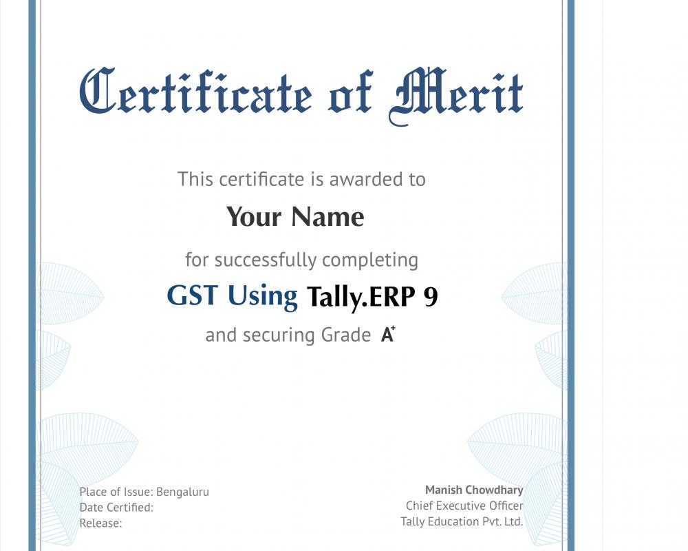 GST Using Tally ERP Certificate