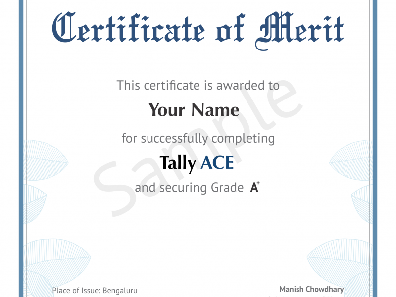 TallyACE certificate