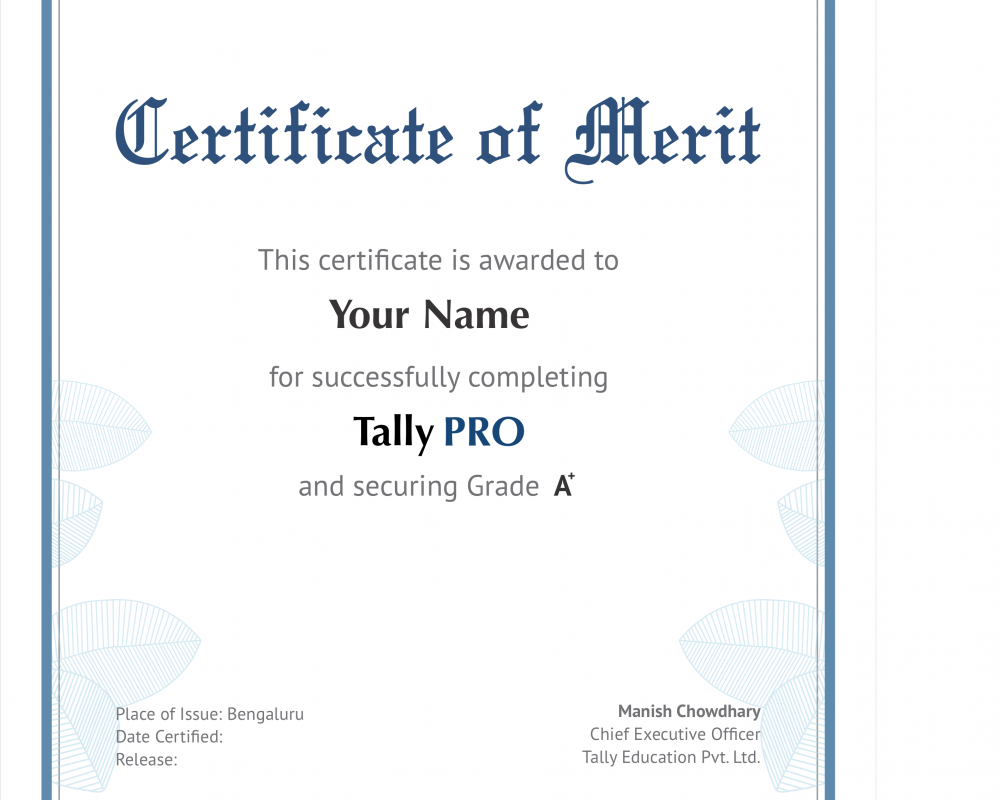 TallyPRO Certificate